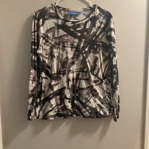 Simply Vera Wang Long Sleeve Abstract Cotton Top